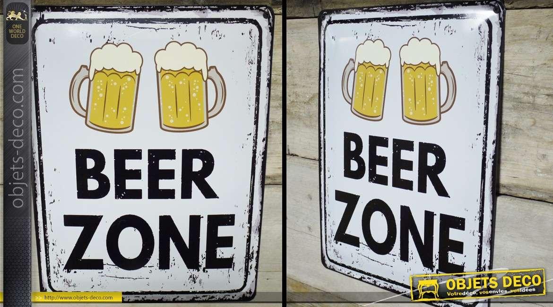 Plaque murale vintage en métal : Beer Zone 40 x30 cm