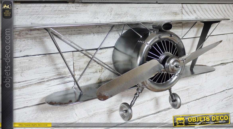Décoration murale en relief : avion biplan ancien (128 cm)