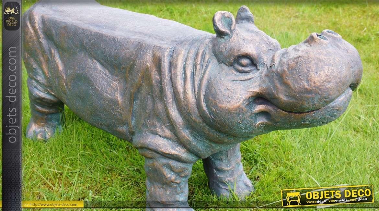 Banc d'extérieur en forme d'hippopotame 80 cm