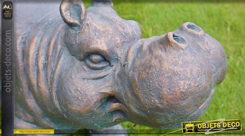 Banc d 39 ext rieur en forme d 39 hippopotame 80 cm for Objet decoration hippopotame