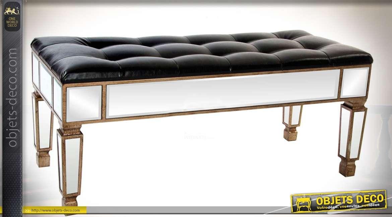 banquette bout de lit similicuir noir et miroirs style. Black Bedroom Furniture Sets. Home Design Ideas