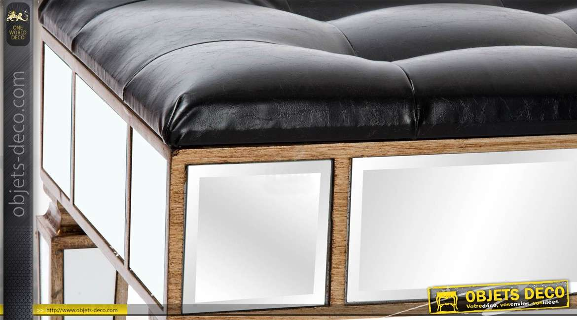 banquette bout de lit similicuir noir et miroirs style v nitien. Black Bedroom Furniture Sets. Home Design Ideas