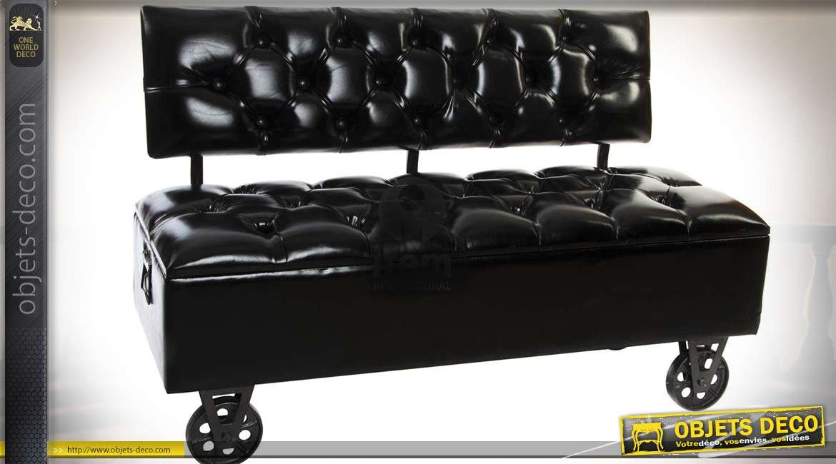 banquette canap noir de style industriel avec coffre. Black Bedroom Furniture Sets. Home Design Ideas