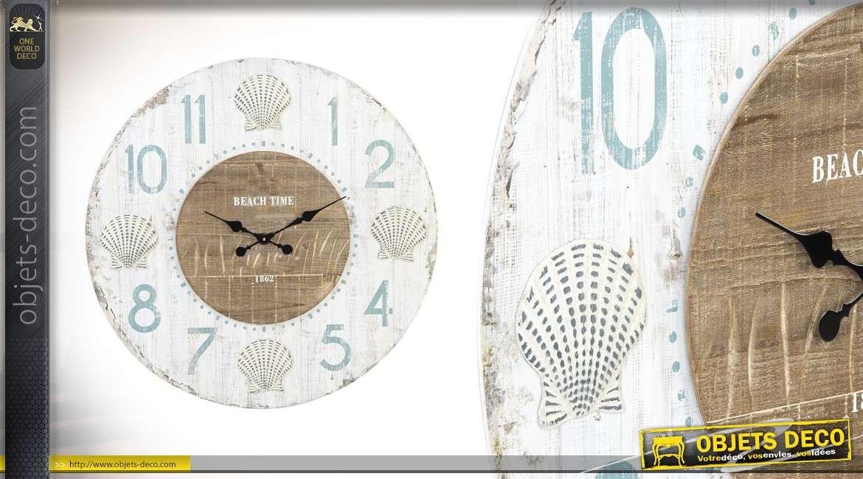 grande horloge murale en bois beach avenue 79 cm. Black Bedroom Furniture Sets. Home Design Ideas