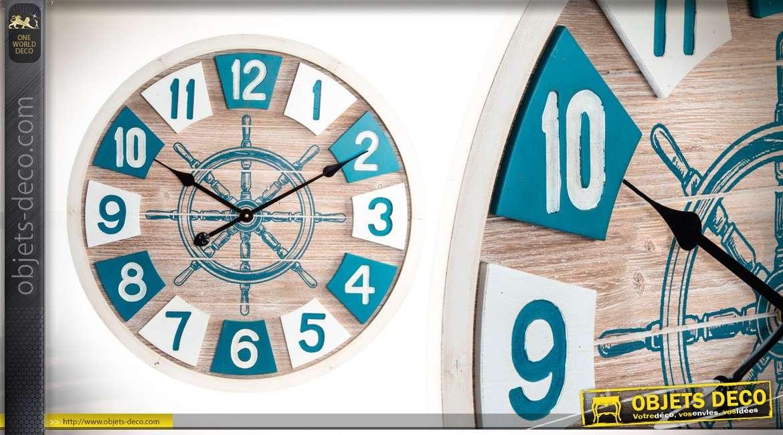 horloge murale 64 cm de style bord de mer beach avenue en bois. Black Bedroom Furniture Sets. Home Design Ideas