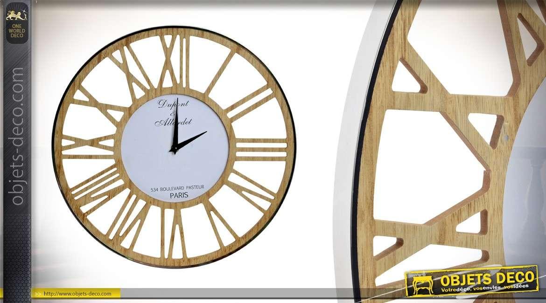 horloge en bois et m tal brillant de 40 cm style industriel. Black Bedroom Furniture Sets. Home Design Ideas