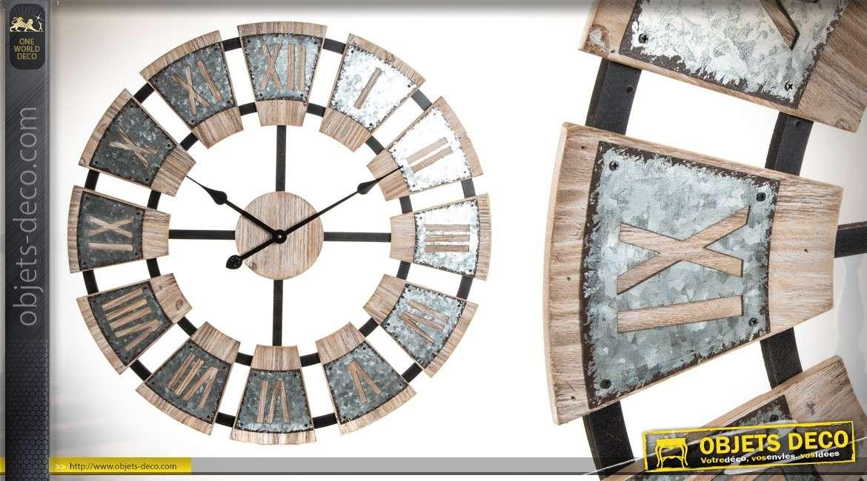 grande horloge ambiance cave vin en bois et m tal 70 cm. Black Bedroom Furniture Sets. Home Design Ideas