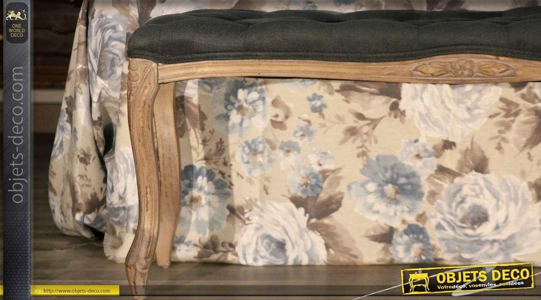 Banquette bout de lit de style Louis XV tissu gris foncé capitonné