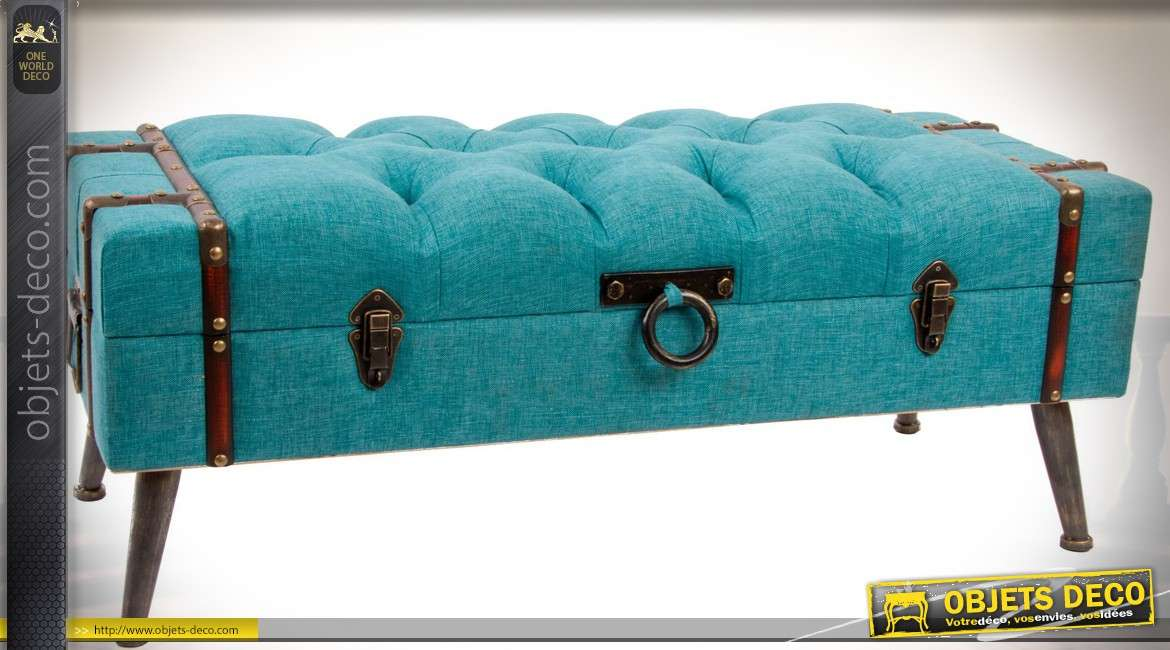 bout de lit banquette coffre en tissu capitonn coloris turquoise. Black Bedroom Furniture Sets. Home Design Ideas
