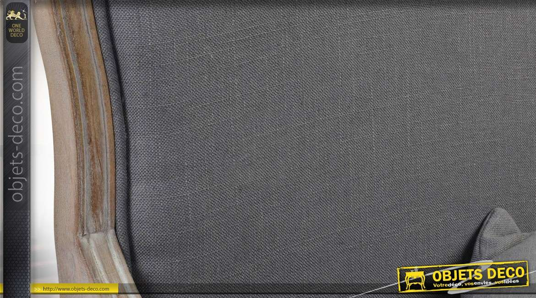 Bergère de style Louis XV finition chêne oxydé et tissu taupe