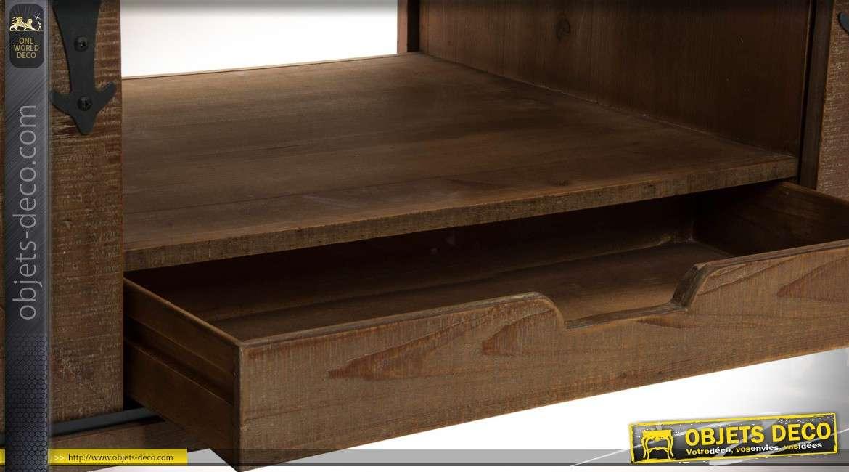 Meuble tv de style rustique bois et m tal avec portes for Meuble deux portes bois