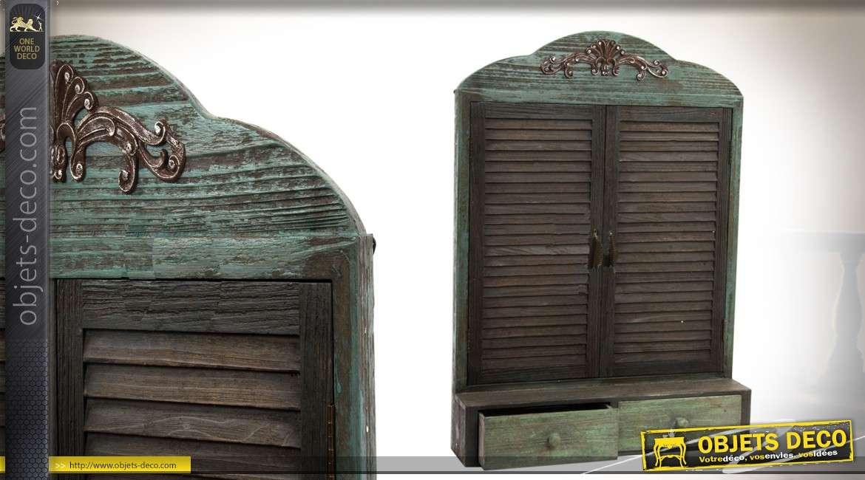 Miroir en bois avec étagère et deux tiroirs de 89 cm