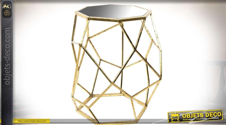 table sellette design m tal dor vieilli plateau octogonal. Black Bedroom Furniture Sets. Home Design Ideas
