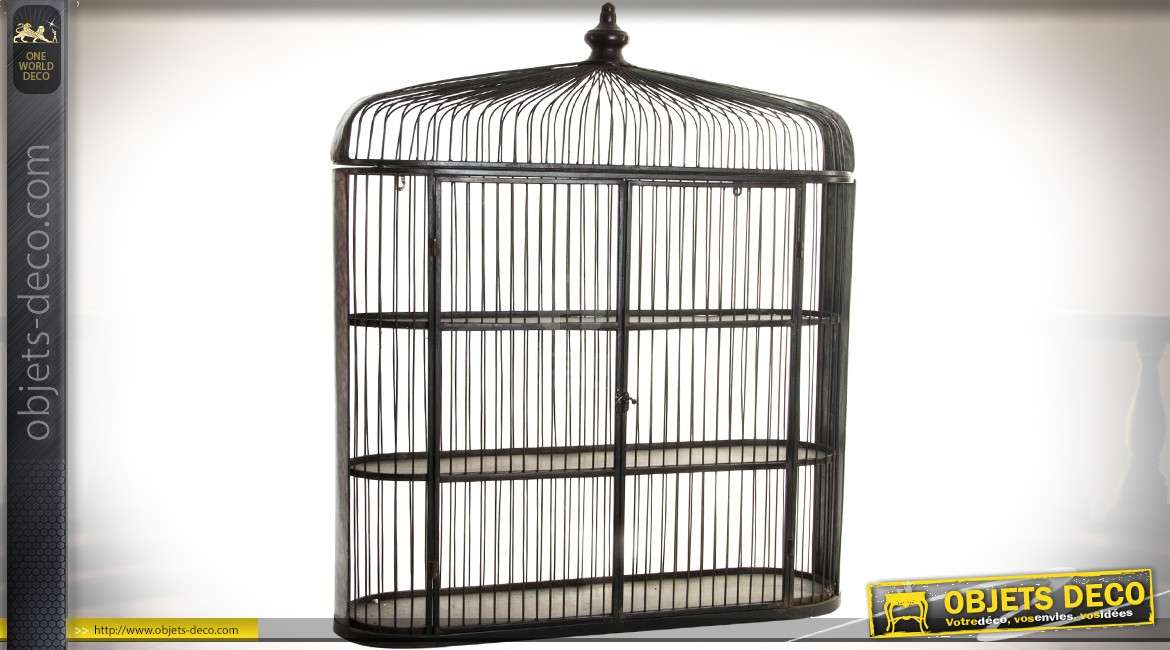 grande tag re murale en m tal en forme de cage oiseaux m tal brun 90 cm. Black Bedroom Furniture Sets. Home Design Ideas