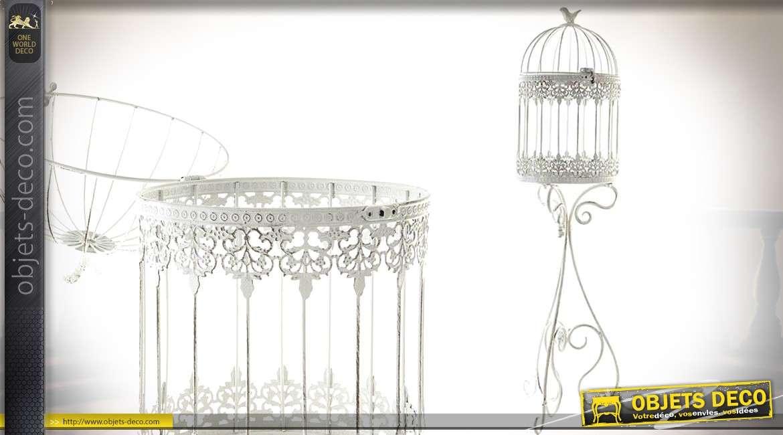 cage oiseaux sur pied de style r tro coloris blanc 83 cm. Black Bedroom Furniture Sets. Home Design Ideas