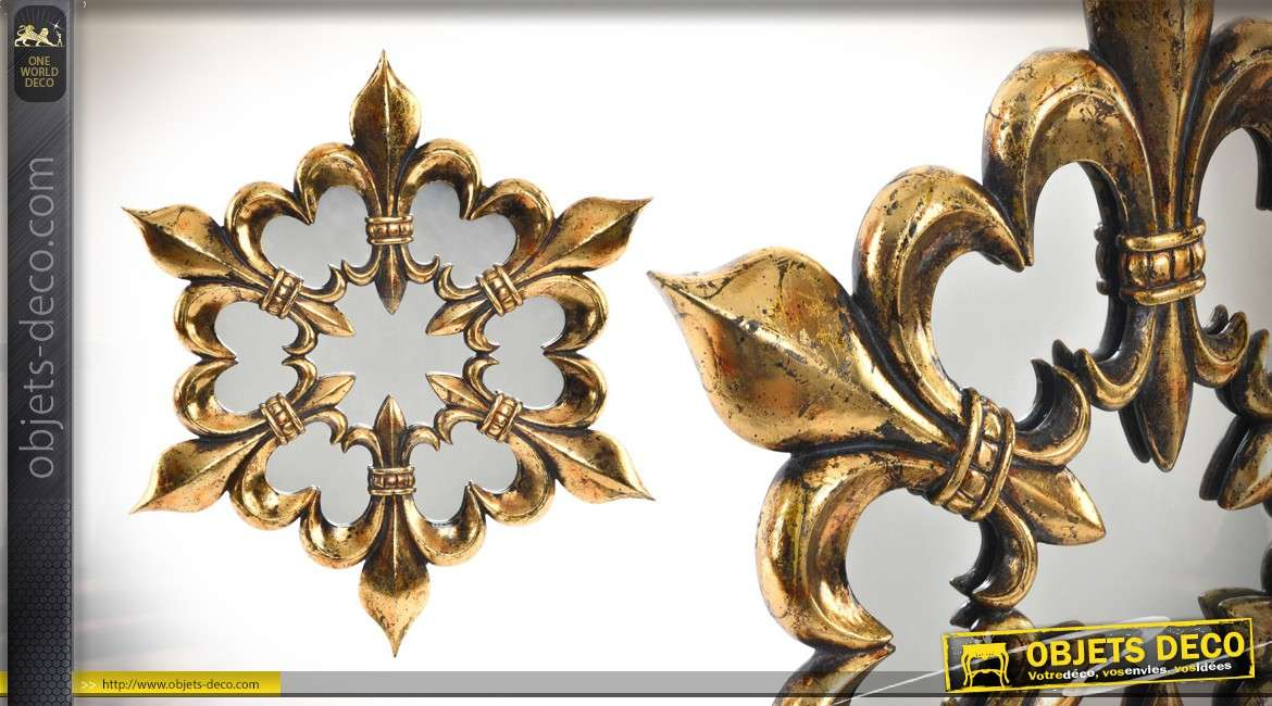 miroir de style baroque en r sine fleur de lys 41 cm. Black Bedroom Furniture Sets. Home Design Ideas