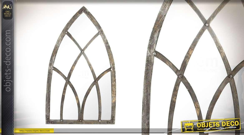 miroir style arche pointue en bois effet vieilli 151cm. Black Bedroom Furniture Sets. Home Design Ideas