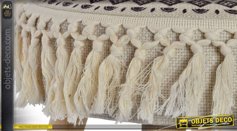 Tabouret rond style boho chic bois naturel et tissu à franges