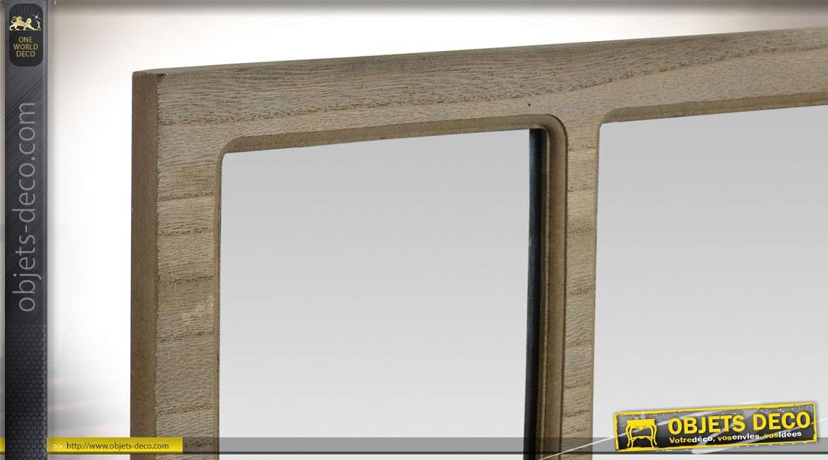 miroir rectangulaire carreaux en bois et m tal style indus 52 cm. Black Bedroom Furniture Sets. Home Design Ideas