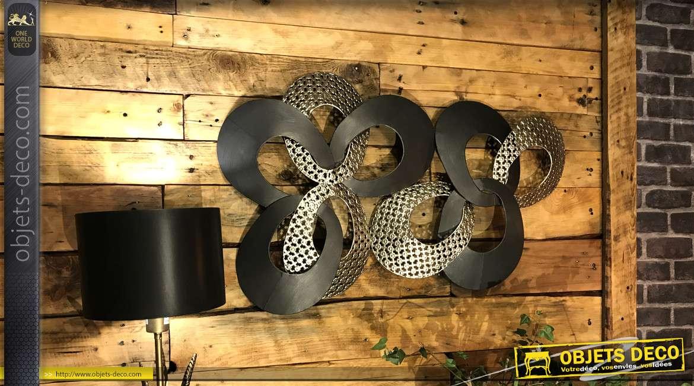 Décoration murale en métal maillons entrelacés de 96 cm
