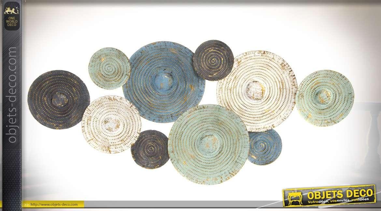 Grande décoration murale en métal cercle patinés vieillis couleurs douces art abstrait