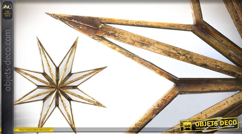 Etoile murale à 8 branches en métal et verre effet vieilli vintage