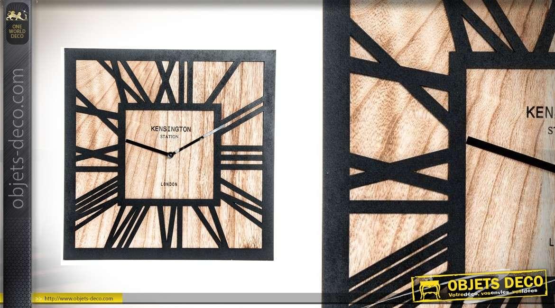 Horloge murale carrée en bois clair et noir 40cm