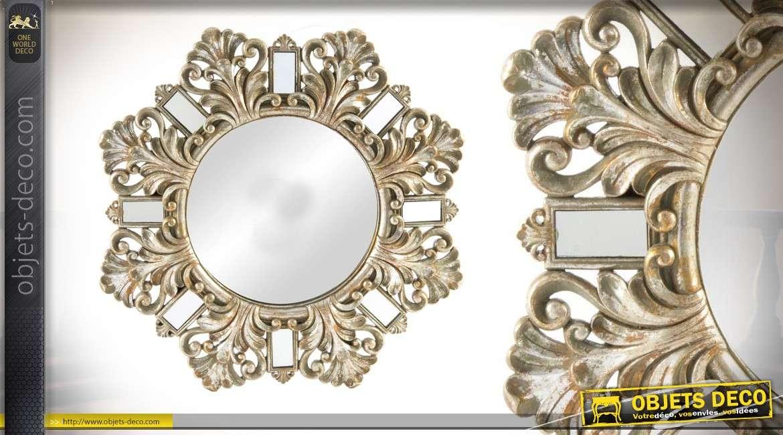 Miroir de 53 cm en r sine de style baroque argent effet vieilli - Miroir decoration murale ...