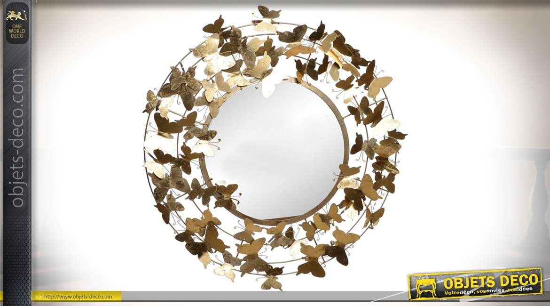 Grand miroir rond en m tal 92 cm cercl de papillons brillants - Miroir decoration murale ...