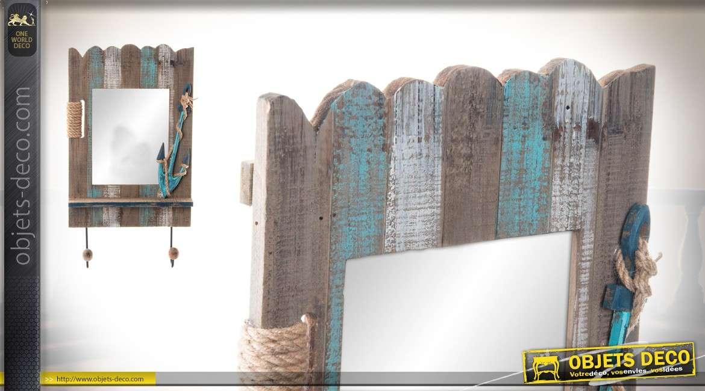 d coration murale bois et miroir avec deux pat res style bord de mer. Black Bedroom Furniture Sets. Home Design Ideas