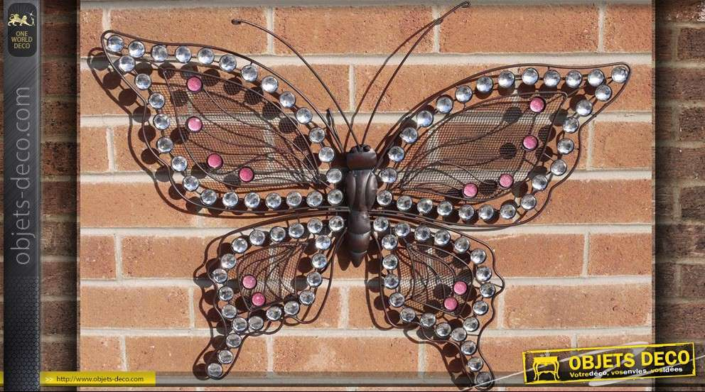 D coration papillon mural en fer forg for Decoration murale vannerie