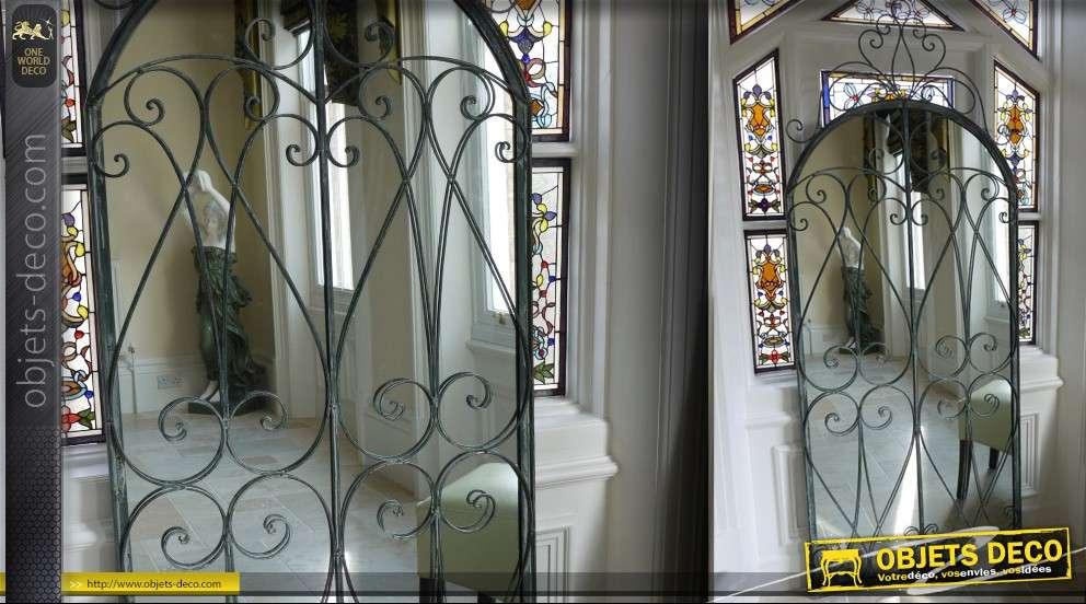 Grand miroir fen tre marquise en fer forg for Miroir 2 metres