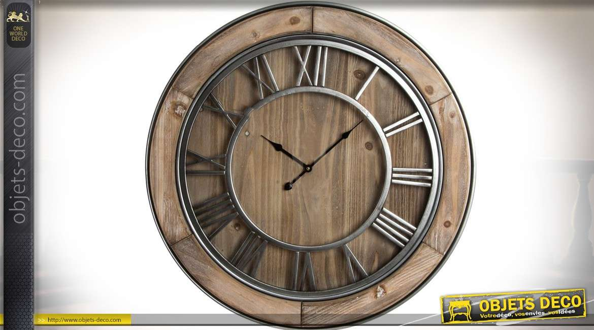 horloge murale de style r tro en bois naturel et m tal agent 72 cm. Black Bedroom Furniture Sets. Home Design Ideas