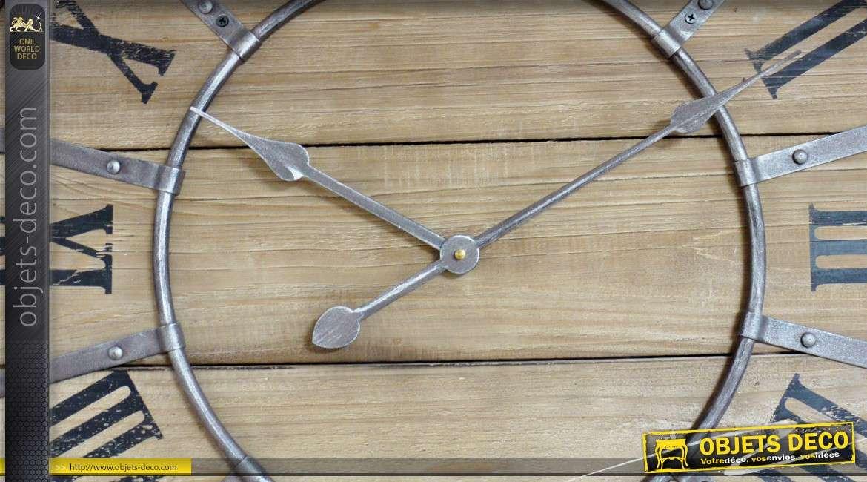Horloge murale de style industriel et rétro en bois et métal Ø 66 cm