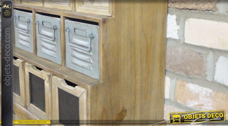 Meuble de rangement industriel en bois et métal à 25 tiroirs
