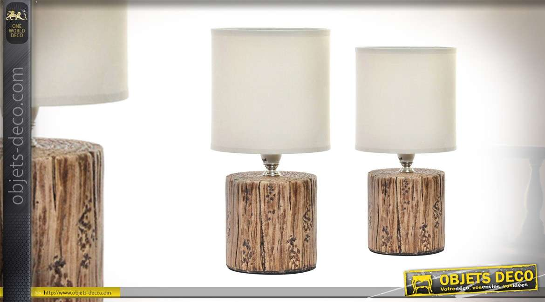 2 Chevet De 27cm Résine Imitation Tronc En Série Lampes WI9DHE2