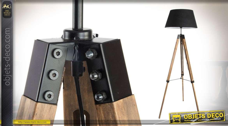Lampadaire de 153cm en bois et métal style indusriel