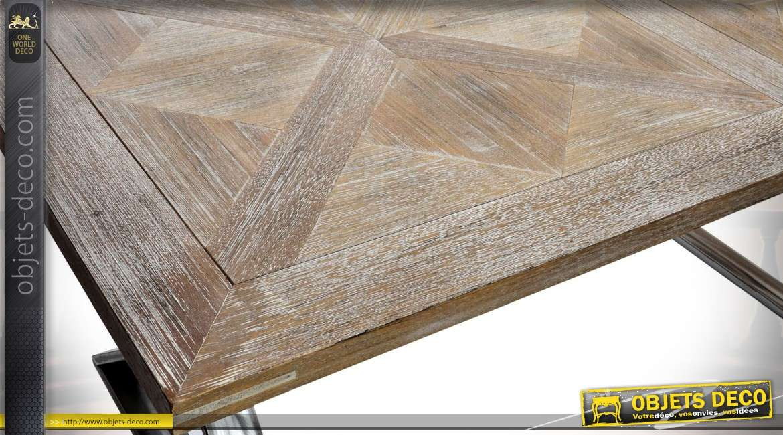 Table de salle à manger en bois et métal aspect vieilli 180 x 90 cm