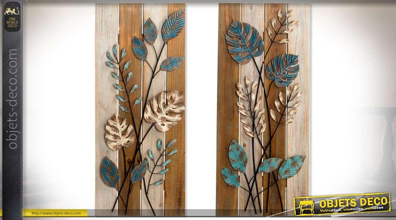 duo de d corations murales en bois et m tal motifs de feuilles 95 cm. Black Bedroom Furniture Sets. Home Design Ideas