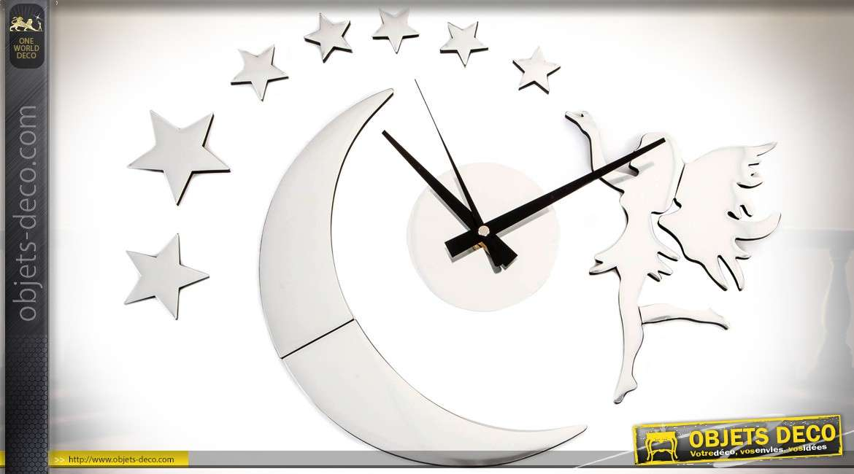 horloge murale coller finition chrom e f e et toiles 60 x 60 cm. Black Bedroom Furniture Sets. Home Design Ideas