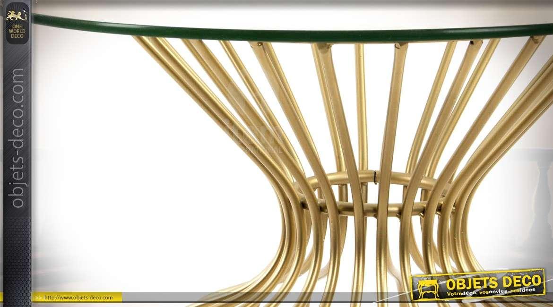 Bout de canapé filaire design métal doré et plateau en verre