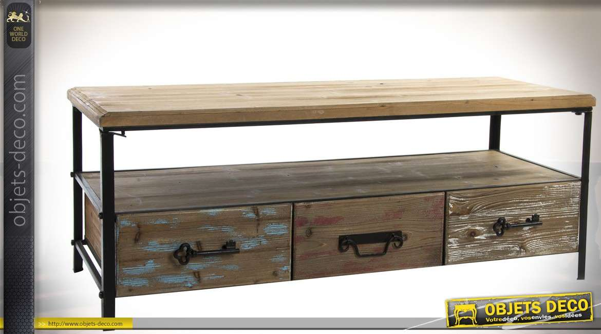 table basse en bois et m tal style brocante avec 3 tiroirs. Black Bedroom Furniture Sets. Home Design Ideas