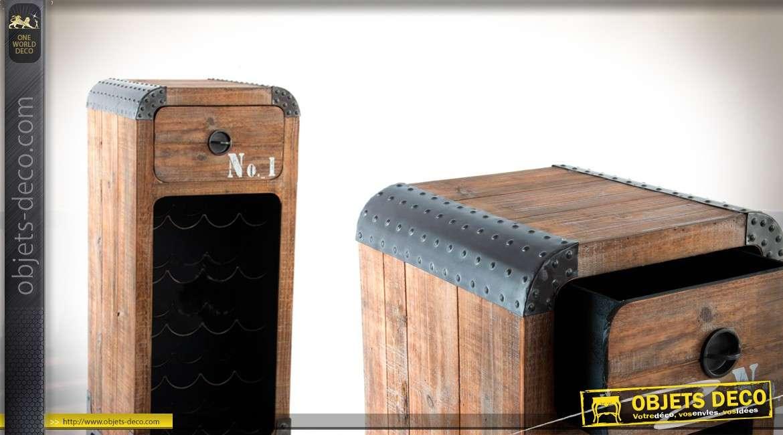 porte bouteille en bois rangement 20 bouteiles style industriel. Black Bedroom Furniture Sets. Home Design Ideas