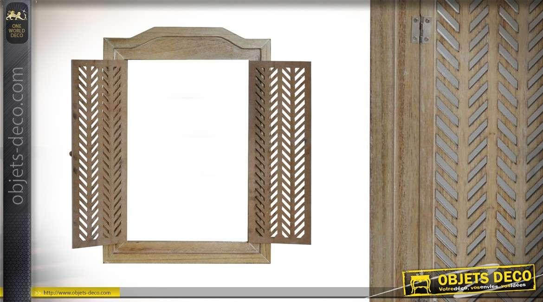Miroir fenêtre en bois clair avec volets rabattables 50 cm