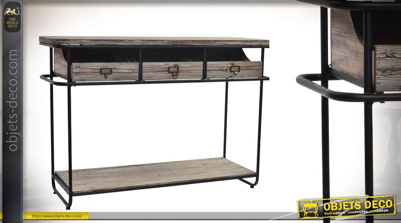 grande console en bois et m tal 3 tiroirs effet vieilli 117 cm. Black Bedroom Furniture Sets. Home Design Ideas