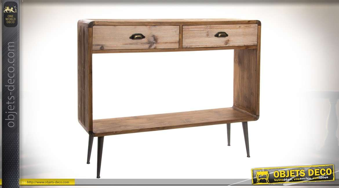 console en bois et m tal style scandinave moderne. Black Bedroom Furniture Sets. Home Design Ideas