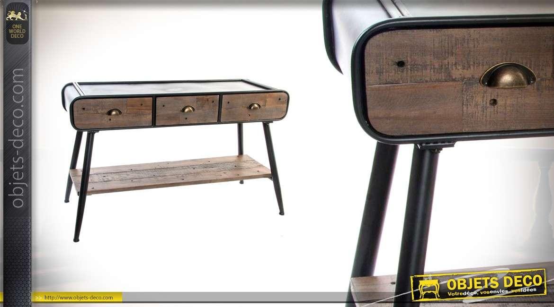 console en bois et m tal de style industriel 75cm de haut. Black Bedroom Furniture Sets. Home Design Ideas