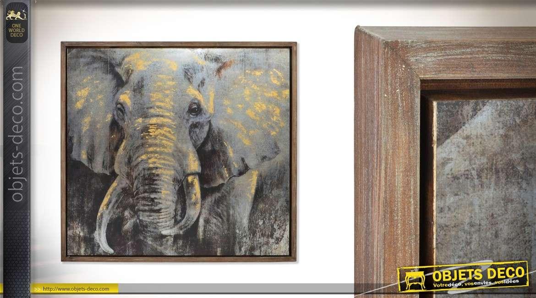 Grande décoration murale en bois et métal Le regard du sage