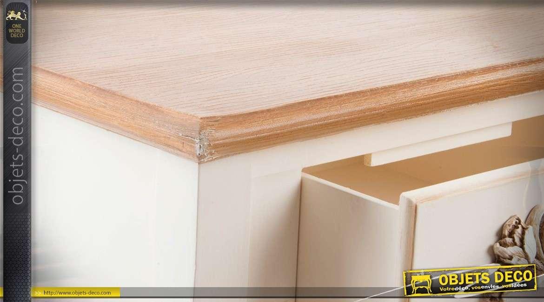 console de charme en bois patin blanc et finitions dor es 120 cm. Black Bedroom Furniture Sets. Home Design Ideas