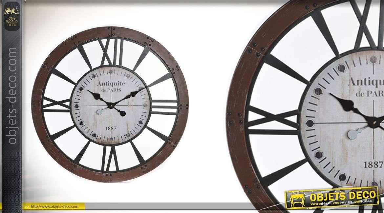 Horloge en bois et métal Ø80 - Antiquités de Paris